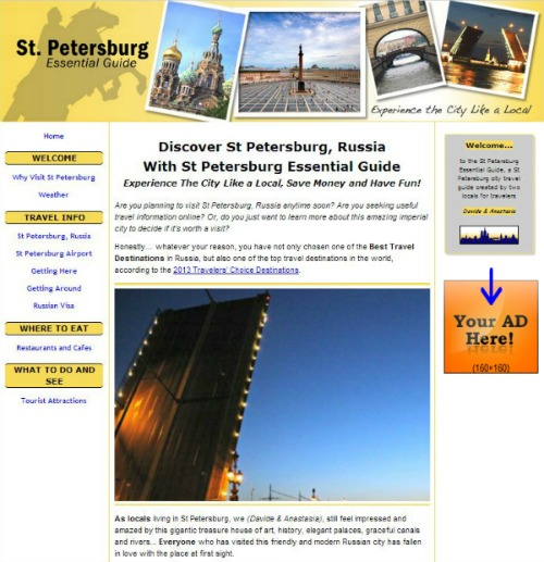 Example of Sidebar Ad placed on the Homepage.