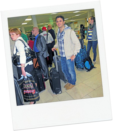 A photo of me (Davide), taken at the aiport of St Petersburg, Russia after my arrival in 2012.