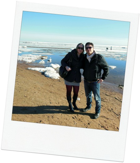 I (Davide) and Anastasia posing together for a photo on the beautiful Gulf of Finland in St Petersburg, Russia.
