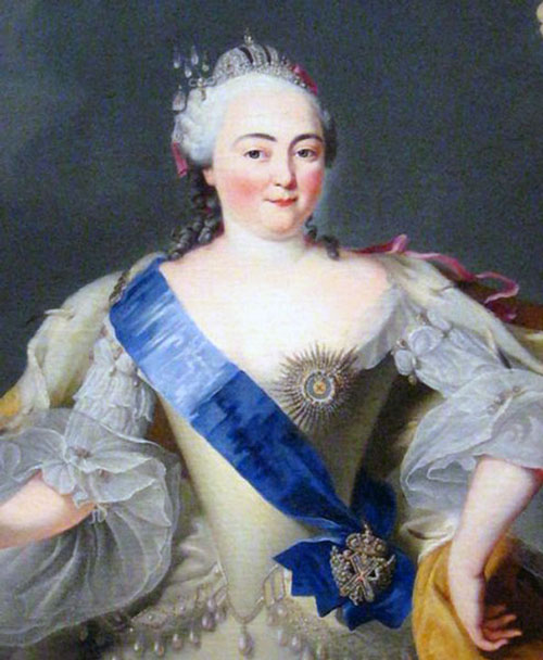 A portrait of Elizabeth Petrovna, empress of St Petersburg Russia.