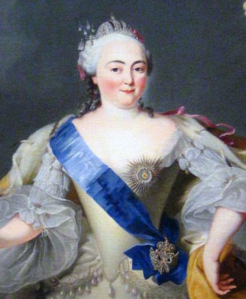 A portrait of Elizabeth Petrovna, empress of St Petersburg Russia.