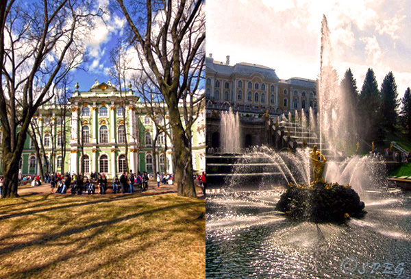 The Hermitage Museum and Peterhof in St Petersburg, Russia.