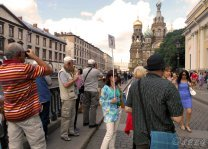 Group of tourists on a shore tour in St Petersburg Russia.