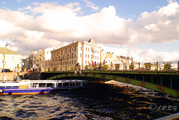 A daily boat tour cruising along the Neva River in St Petersburg, Russia.