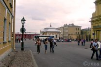 Visitors walking around the Peter and Paul Fortress in St Petersburg, Russia.