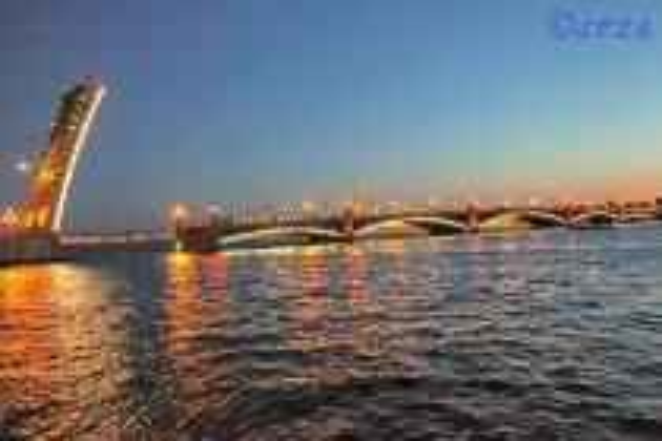 The Trinity Bridge in St. Petersburg Russia.