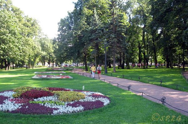 The Alexander Garden in St. Petersburg Russia.