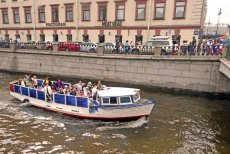 Day boat tour across the Neva River in St Petersburg, Russia.