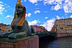 The Egyptian Bridge in St. Petersburg Russia.