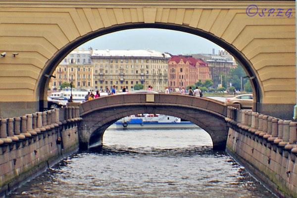 The Hermitage Bridge in St. Petersburg Russia.