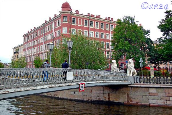 The Lions Bridge in St. Petersburg Russia.