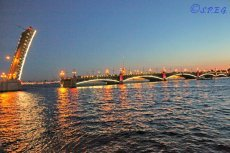 The Trinity Bridge in St. Petersburg Russia.