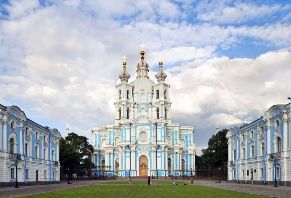 The Smolny Cathedral in St. Petersburg Russia.