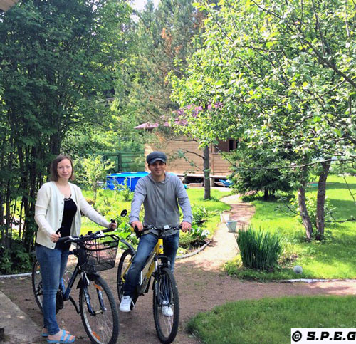 Me (Davide) and Anastasia with our bikes at the Dacha, St Petersburg, Russia.