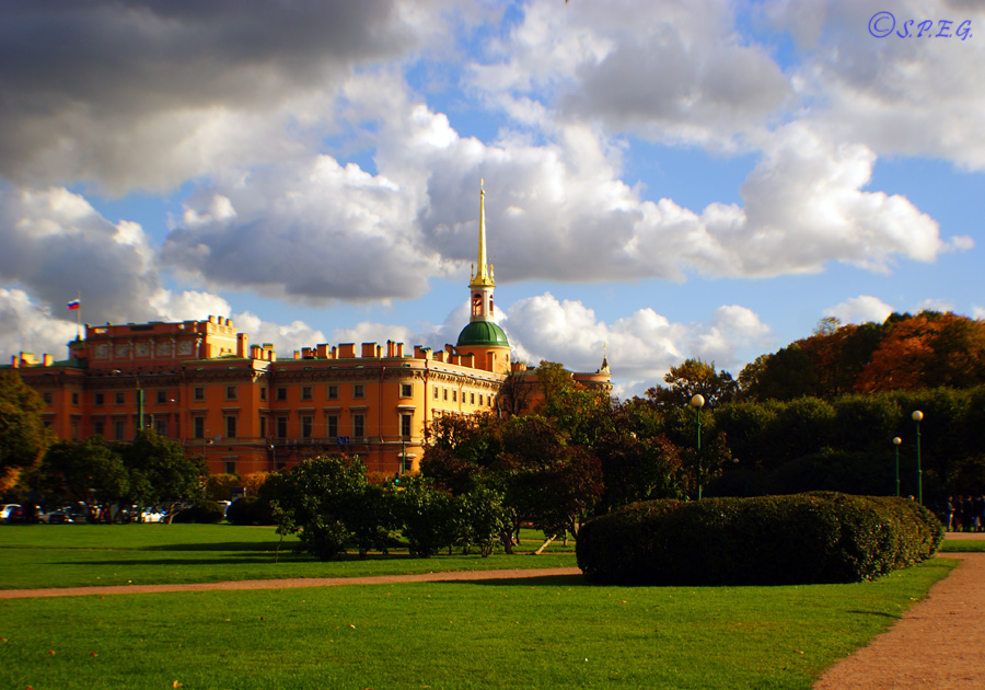 Photo of the Field of Mars and Saint Micheal's Castle in St Petersburg, Russia.