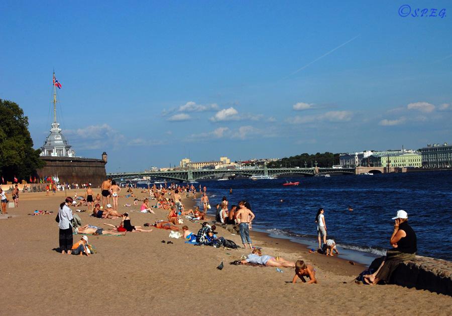Hare's Island beach, St Petersburg, Russia.