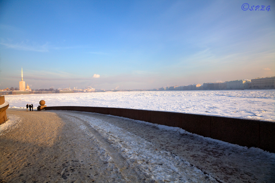 The Neva River in Winter time, St Petersburg, Russia.