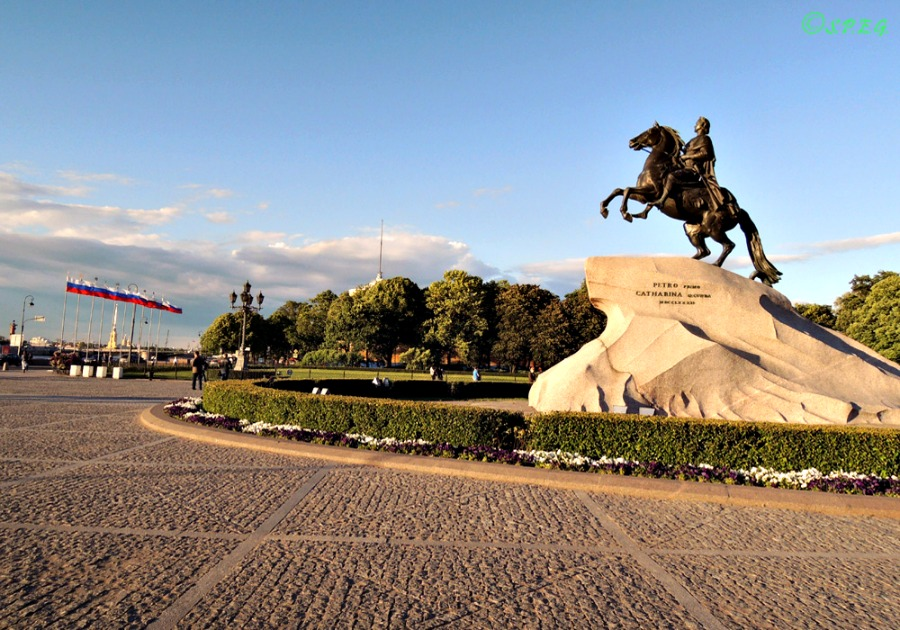The Bronze Horseman at the Senate Square, St Petersburg, Russia.