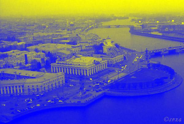 Panoramic view of Vasilyevsky Island in St. Petersburg Russia.