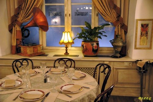 A look at the cozy evening atmosphere of RussianVodka Room restaurant in St Petersburg, Russia.