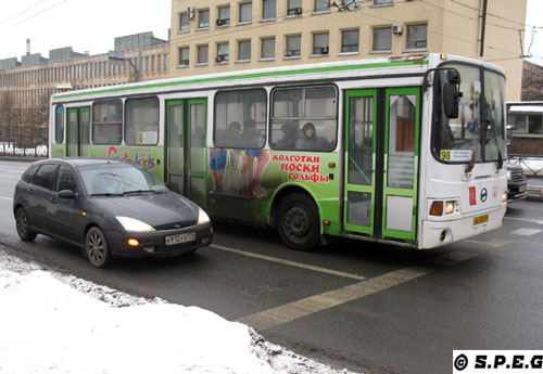 Typical local buses running in St Peterbsurg, Russia.