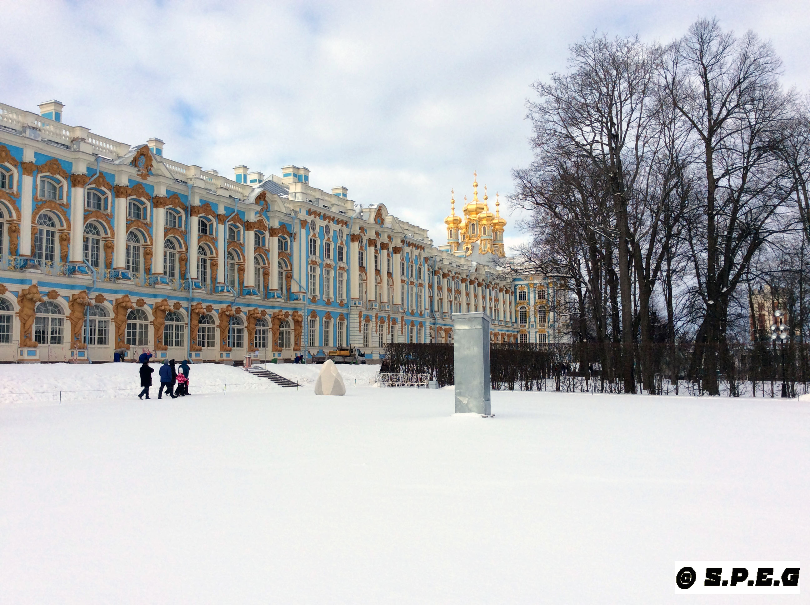 Catherine Palace in Tsarskoye Selo during Winter.