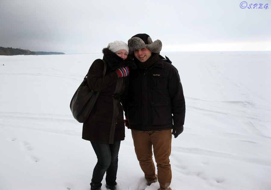 Anastasia and I (Davide) on the Gulf of Finland in St Petersburg, Russia.