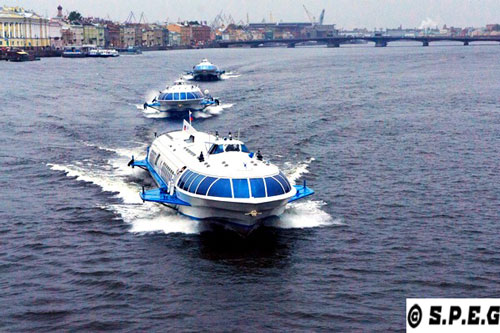 Hydrofoils running on the Neva River in St Petersburg Russia.