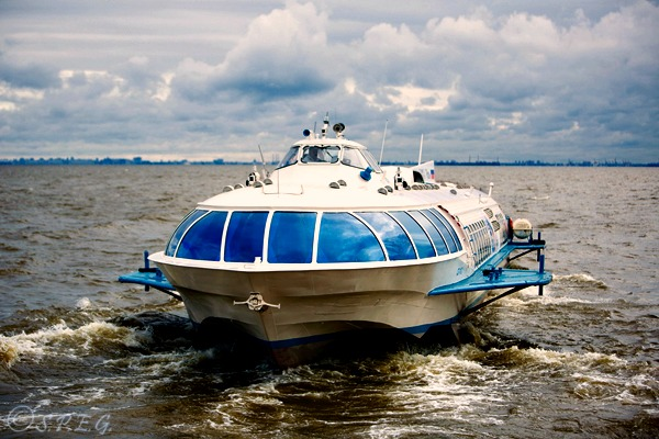 Photo of a hydrofoil in St Petersburg, Russia.