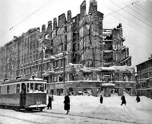 Photo taken after the suffering war with the Nazi in 1945 in St Petersburg Russia.