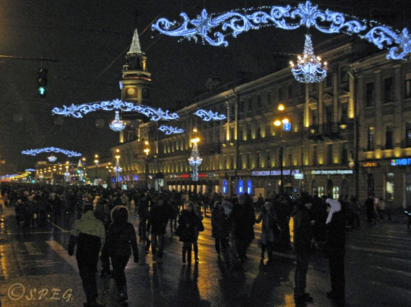 People celebrating New Year on Nevsky Prospekt, St Petersburg, Russia.