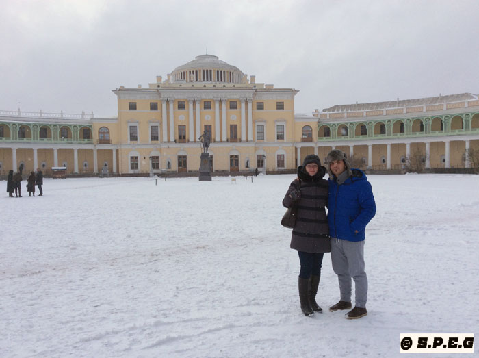 Davide and Anastasia posing for a photo in front of Pavlovsk Palace.