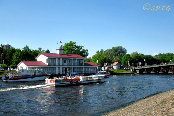 A river boat tour along the Neva in St Petersburg Russia.