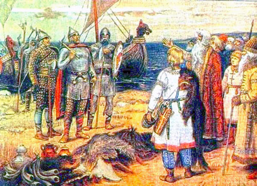 The Invitation of the Varangians: Rurik and his brothers Sineus and Truvor arrive at the lands of the Ilmen Slavs.