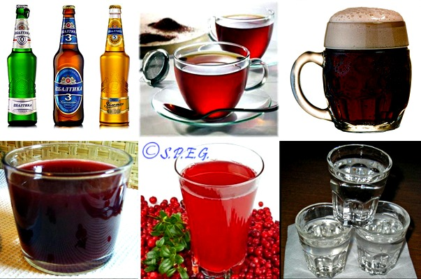 Different types of Russian Drinks.
