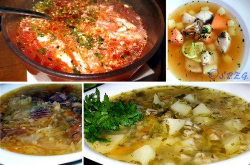 Different types of Russian Soups.