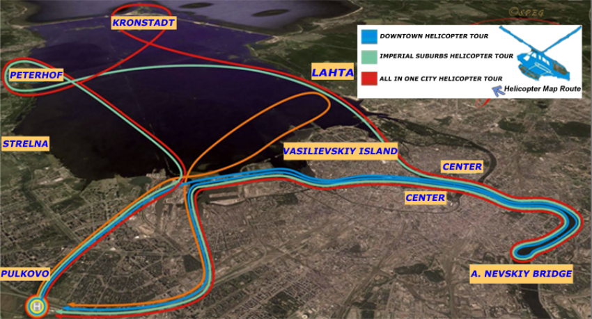 Helicopter Tour Routes for St. Petersburg Russia.