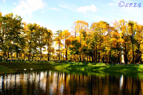 Summer Garden in Autumn, St Petersburg, Russia.