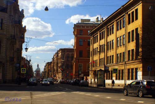 One of the many streets in St Petersburg, Russia.
