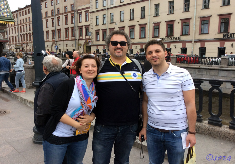 With frieds in front of the Church on the Spilled Blood, St Petersburg, Russia.