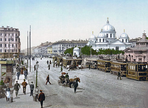 A painting of St Petersburg Russia during the XVIII century.