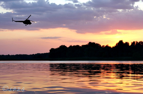 A flight tour during the sunset outside St Petersburg, Russia.