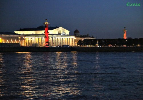 View of the Spit of Vasilievskiy Island in St Petersburg, Russia.
