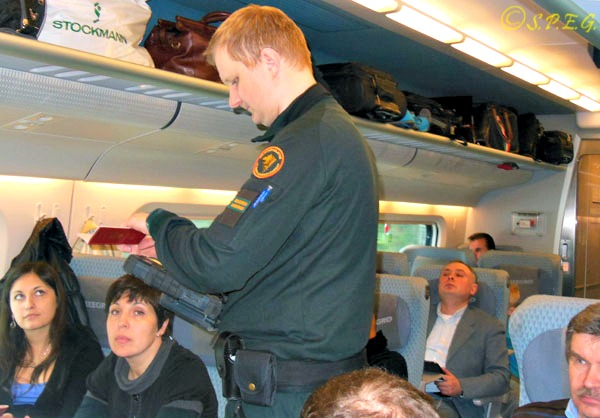 St Petersburg by train - Passport Control on board the train.