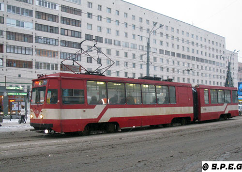 Typical trams running in St Petersburg Russia.