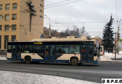 Typical trolleybuses running in the city of St Petersburg, Russia.