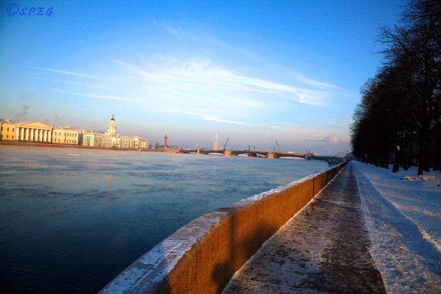 Photo of the Neva River frozen, St Petersburg, Russia.