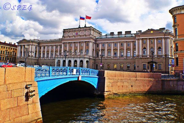 The Blue Bridge in St. Petersburg Russia.