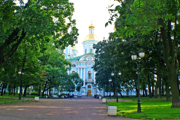 A photo of the Cathedral of St Nicholas in St Petersburg Russia.