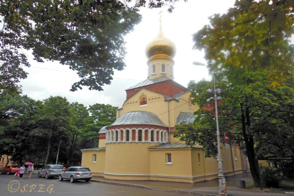A photo of the Church of The Intercession of the Holy Virgin in St Petersburg Russia.